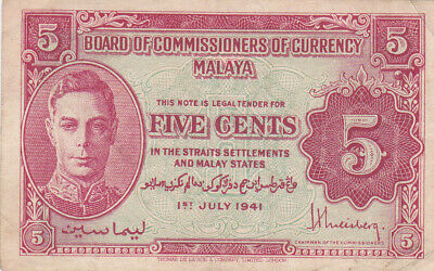 5 Cents Vf Banknote From British Colony Of Malaya 1941 Pick-7