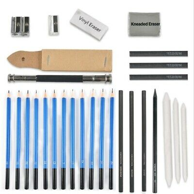 32pc Professional Sketching Drawing Set Art Pencil Kit Graphite Charcoal Artists
