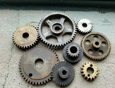 Vintage Lot Small Factory Machine Gear Industrial Sprockets Farm Iron brass old