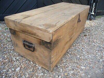 Antique / Vintage Pine Tool Chest  with top tray compartment .79cm x 34cm x 28