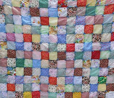 "Beautiful Vintage Hand-Made 42"" By 35"" Patchwork Baby Quilt"