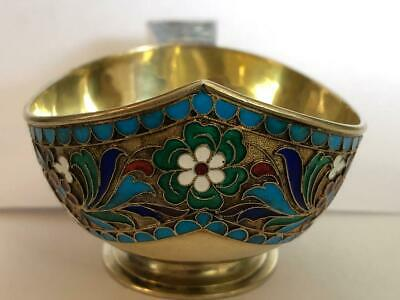 Antique Russian silver 84 cloisonne enamel kovsh, length is 5 inches
