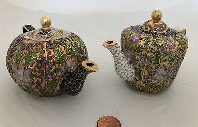 Vintage Cloisonne Enamel and Bronze 2 Teapot Set