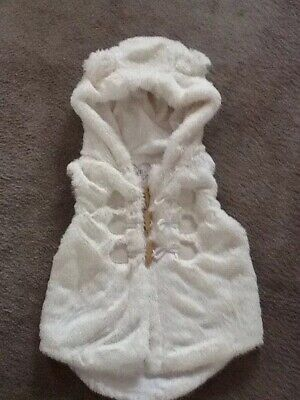 Baby Girls Cream Fluffy Hooded Gillet Age 24-36 Months