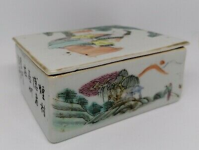 Antique Chinese Porcelain Famille Rose Trinket Box - CHIPPED !