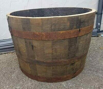 Large Genuine Half Whisky Barrel Planter 90 Litres Oak Whiskey Plant Container