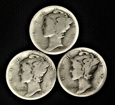 1920 PDS  Set of three Mercury Dimes  90% Silver  Good to Very Good