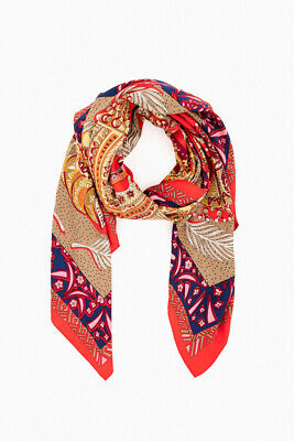 TROPICAL JUNGLE PALM LEAF ANIMAL PRINT ABSTRACT SCARF WRAP RED PINK YELLOW