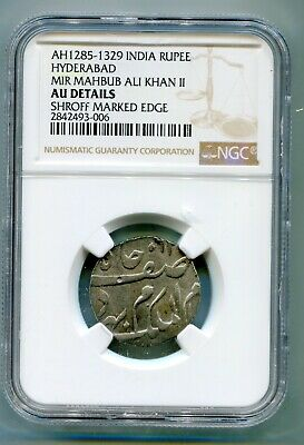 Hyderabad Rupee AH1285 to 1329 Shroff edge NGC AU    lotapr5805