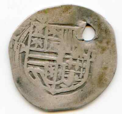 New World 2 Reales circa 1600 assayer O P numerous clips 2.7 grams  lotapr5849