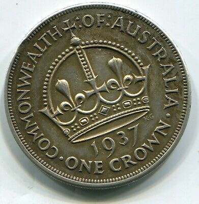 Australia Crown 1937 with a tiny clipped flan at 2 o clock   lotap6010