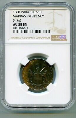 Madras Presidency, British India 10 Cash 1808 4.7g NGC AU 58 BN   lotapr5831