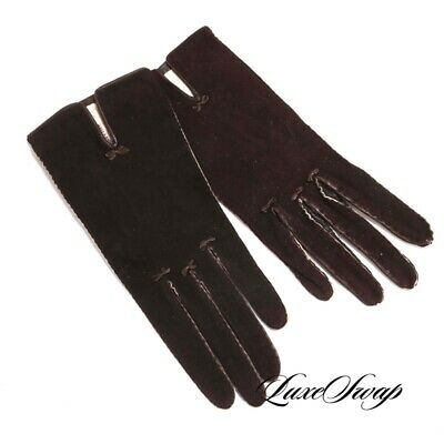 LNWOT Vintage Anonymous Made in Argentina Cigar Brown Sueded Leather Gloves 8.5