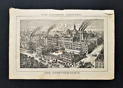 1800s antique ANHEUSER-BUSCH AD engraving bldg horse carriage st louis magazine