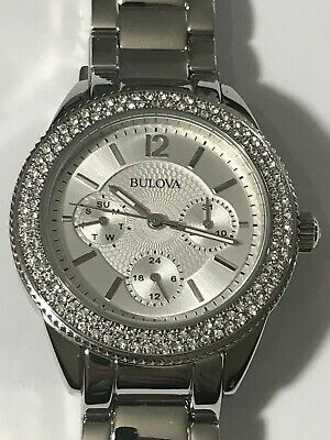 Bulova Crystal Accent Watch with Silver-Tone Dial Model: 96N102