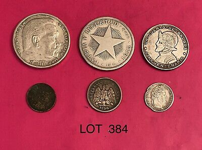 Foreign Silver Coins,Lot of 6, G - VF+,Lot #384, Panama,Germany,Mexico,France