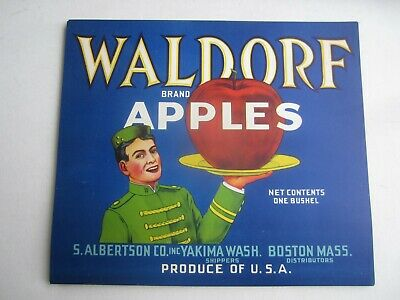 Wholesale Lot of 50 Old Vintage - WALDORF - Apple LABELS - BELL BOY - Boston MA.