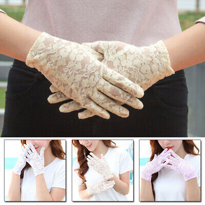 1Pair Fashion Lace Female Gloves Sun Protection Anti-skid Full Finger Thin