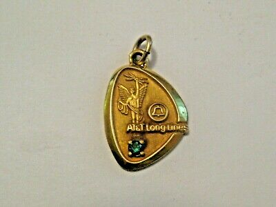 Nice Vintage Bell Telephone At&T Long Lines Advertising Lgb 1/5 10K Gold Pendant