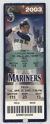 MLB 2003 04/22 Cleveland Indians at Seattle Mariners Ticket-Giovanni Carrara WP