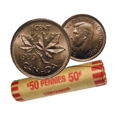Roll of 1939 Canadian Pennies 50 PENNIES! 50X1c (Penny)