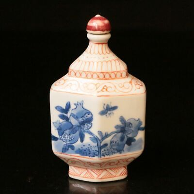 Chinese Exquisite Handmade draw Porcelain Flower Snuff  Bottle