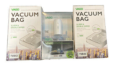 VAGO Portable Vacuum Compressor Travel Luggage Space Saver (with Extra Bags!)