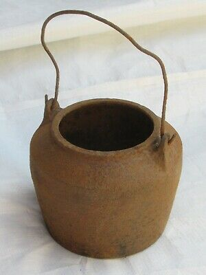 "vintage antique cast iron glue pot by KENRICK & SONS, 5"" tall by 6"" wide"