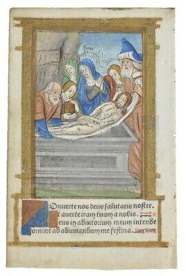 PRINTED BOOK OF HOURS LEAF: ILLUMINATED MINIATURE C1500 The Entombment Of Christ