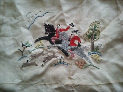 Vintage ? Hand ? Embroidered Victorian ? Hunting Scene ?