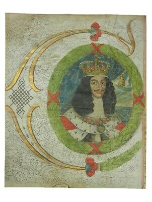 Charles I Portrait Fragment From An Indenture C.1600'S