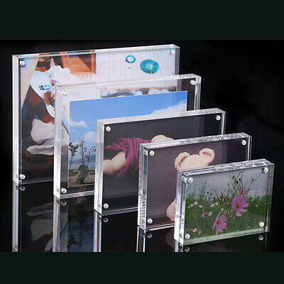 1 X Photo Frame Clear View Both Sided Magnetic Acrylic Block Picture Transparent