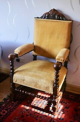 Large Victorian Antique Upholstered Hand Carved Oak Armchair Fireside Chair