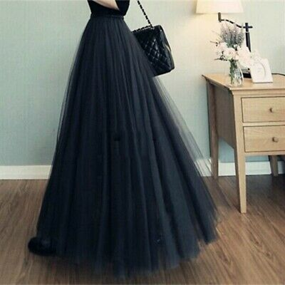 Women Elegant Pleated Tulle Mesh Skirt Elastic High Waist Layers Maxi Long Dress