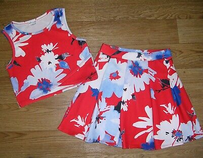 RIVER ISLAND Girls Red Floral Print Set Skirt Sleeveless Top Set Age 7-8 128cm