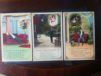 "WW1 BAMFORTH SONG CARDS - ""MY HEART IS WITH YOU TONIGHT"".SET OF 3. PRINTED PCs"