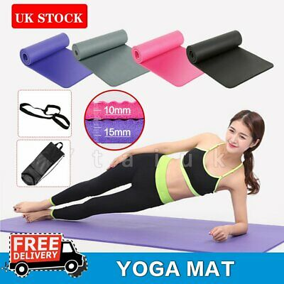 10mm 15mm Yoga Mat Pilates Gym NonSlip Thick Soft Mats Exercise Fitness Portable