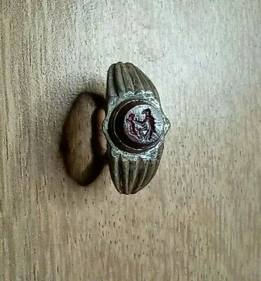 Unusual Ancient Roman Silver Ring With A Gem Depicting An Eagle And A Rabbit