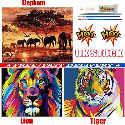 DIY Filling Oil Canvas Paint By Number Kit Multi-Colored Lion Animal Painting PN