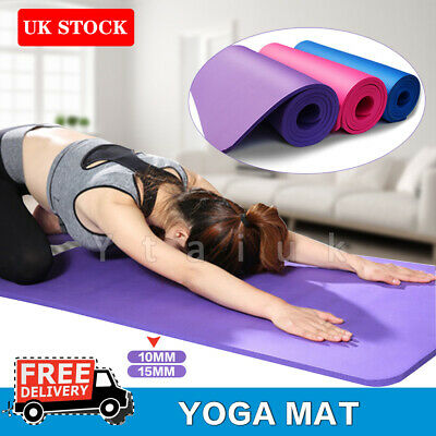 Yoga Mat Pilates Gym Non-Slip Large Thick Soft Mats Exercise Cushion 10mm 15mm