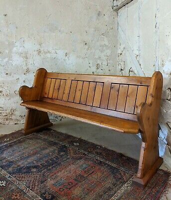 Antique Victorian Pitch Pine Church Pew