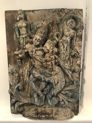 Antique Indian Carving Of Deity Deities Krishna And Kadha With damsels.