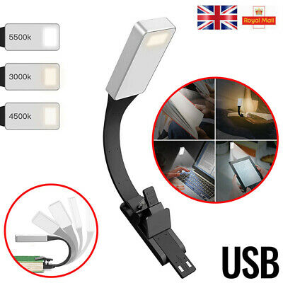 Clip-on Book LED Light Flexible Reading Lamp Reader Kindle USB Rechargeable UK