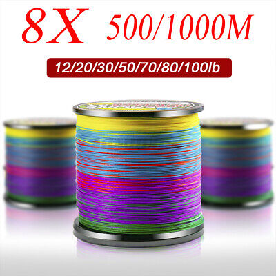 500/1000m 8 Strands Braided Fishing Line 12-100lb Abrasion Resistant Strong PE