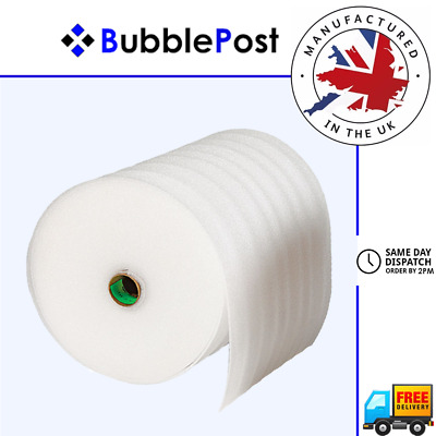 BubblePost - WHITE FOAM ROLL UNDERLAY CUSHIONING PACKAGING - ALL SIZES AVAILABLE