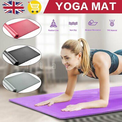 Yoga Mat Pilates Gym Non-Slip Thick Soft Mats Exercise Large + Strap Bag 10mm UK
