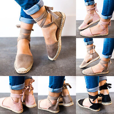 Womens Summer Closed Toe Flat Sandals Lace Up Ankle Strap Espadrilles Shoes Size
