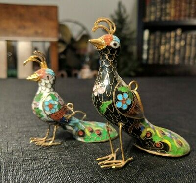 Vintage Asian Cloisonne Peacocks~Enamel Vintage Ornaments~Mid Century Birds