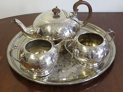 vintage silver plated tea set . & silver plated  tray