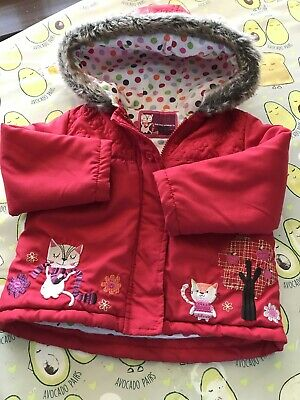 Girls Red Cat Embroidered Detail Hooded Coat TU Age 1.5-2 Yrs  Vgc